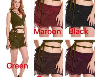 STEAMPUNK SKIRT, Elf skirt, pixie skirt, gypsie skirt, fairy skirt, ragged skirt, festival skirt, Mfskab