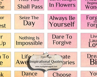 domino images - inspirational words - quotes digital collage sheet for pendants- 1 x 2 inches- printable - digital download instant download