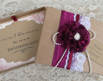 Bridesmaid Invitation - Will You Be My Bridesmaid Boxed Card With Personalised Tag-Handmade Flower-Lace-Rustic Card Box - Vintage Invite