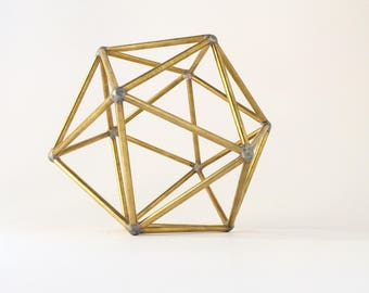 icosahedron stained brass sacred geometry platonic solids