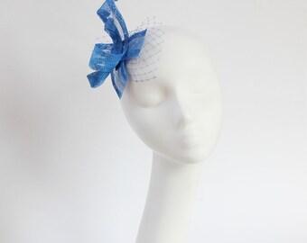 Bridesmaid Royal Blue Fascinator Sinamay Bow