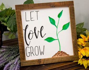 Let Love Grow Rustic Spring Signs Decor Framed New