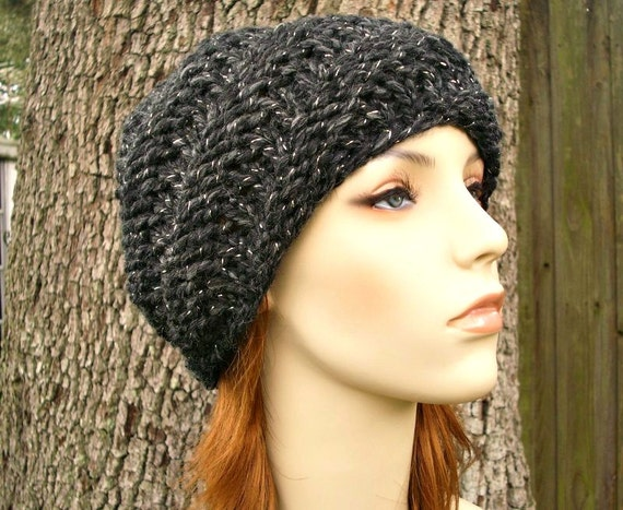 Knit Hat Womens Hat - Swirl Beanie Constellation Metallic Charcoal Grey Knit Hat - Grey Hat Grey Beanie - Womens Accessories - READY TO SHIP