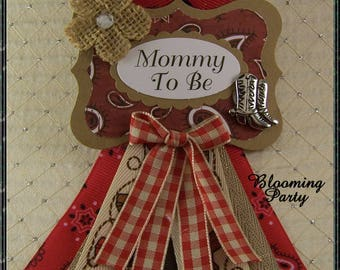Western Mommy To Be Corsage Western Mommy Badge Western Theme baby Shower Badge Cowboy Baby Shower Pin