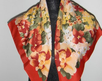 Vintage scarf with flowers/ Head scarf in red, green, white, pink and yellow