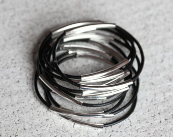 black leather bangles with two silver tubes, set of 10 bracelets / / leather beacelets