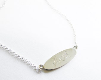 initial necklace oval pendant engraved with initials silver jewelry silver necklace personalized necklace