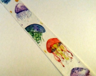 Jellyfish Washi Tape. Sea Life Washi Tape. 1.5cm by 10m. Planner Tape. Scrapbook, Journal, Masking Tape.