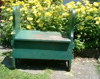 Vintage Bench With Storage / Green Bench-Step Stool / Entryway Bench / Green Bench With Natural Wear /  Old Vintage -Antique Entryway Bench