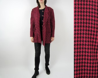 vintage 70s 80s Hounds tooth plaid check oversize double breasted blazer jacket