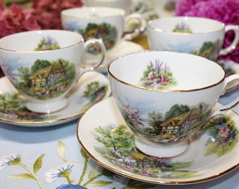 "FOUR (4) ROYAL VALE Bone China Teacup and Saucer Set ""Pattern 7382"","