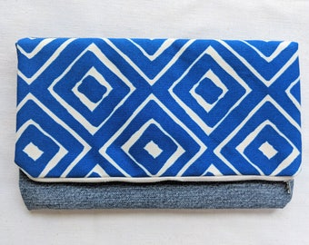 Bright Blue Foldover Clutch / Magnetic Snap / Upcycled Denim