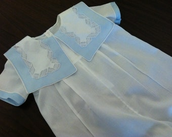 Boy Heirloom Bubble/Blue and White sizes 6 to 18 mo short leg version only.