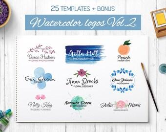 25 Watercolor logo templates. Premade logo. Logotype. Photography logo. Logo collection. Feminine logo. Floral logo. Watercolor logo element