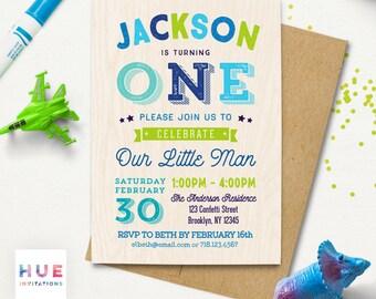 boys 1st birthday invitations, printable digital birthday party invitation, our little man first birthday, navy blue lime green orange