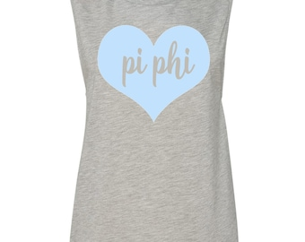 Pi Phi Muscle Tshirt with Heart Design, Pi Phi T- shirt, Pi Phi Tank Top, Pi Phi Sleeveless Tee, Pi Beta Phi Apparel, Pi Phi Sorority Tank