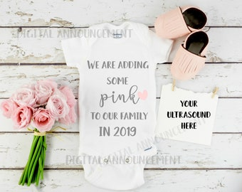 Girl Gender Digital Reveal / Social Media baby Announcement /