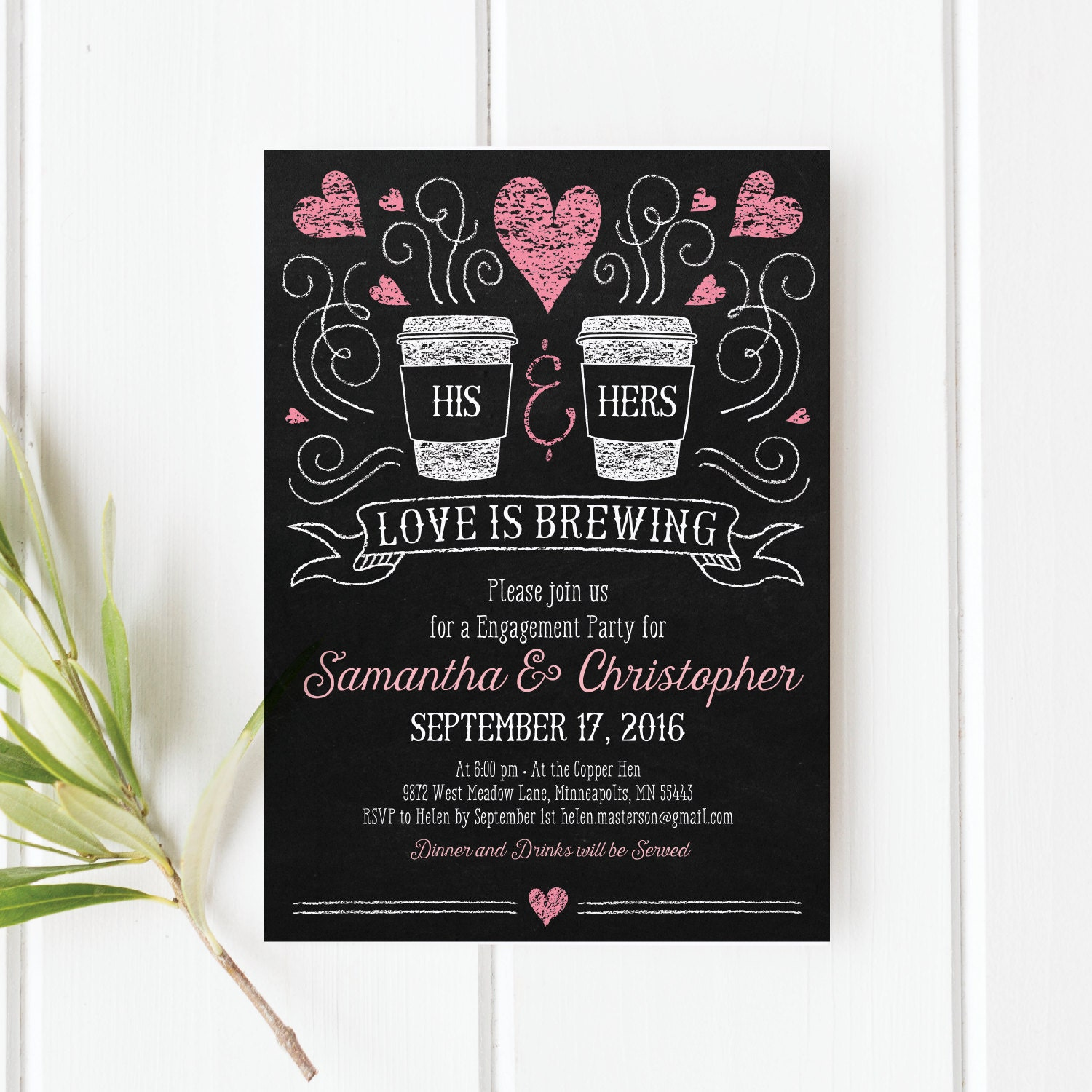 Love is Brewing Engagement Party Invitation, Printable PDF ...