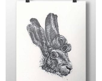 Hare-brushed - Letterpress art print