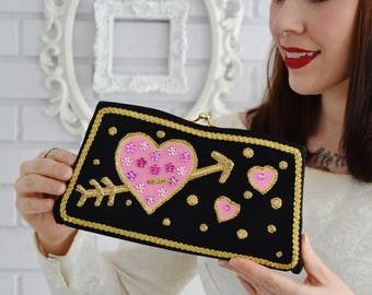 Don't Go Breakin' My Heart Clutch, Vintage and Upcycled