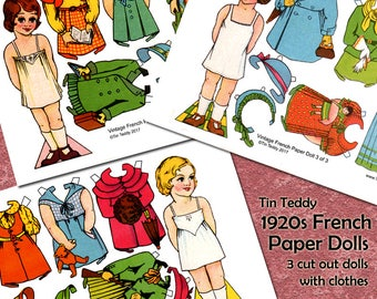 Vintage 1920 French Paper Dolls Digital Collage Pages - 3 Printable Dress Up Dollies & Lots of Clothes Big Paper Dolls Digital Dolls Dressup