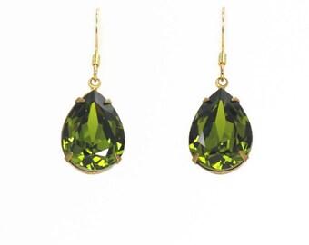Olive green Swarovski Crystal Earrings