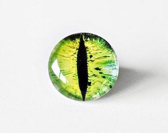 16mm handmade glass eye cabochon - green cat or dragon eye - standard profile