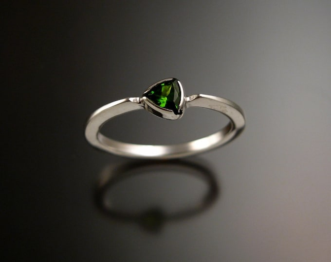 Stackable Chrome Diopside triangle ring 14k white Gold stacking Emerald substitute ring Made to order in your size