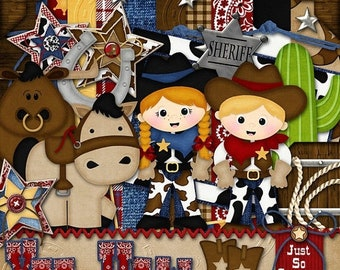 On Sale 50% Off Yee Haw Digital Scrapbook Kit - Digital Scrapbooking