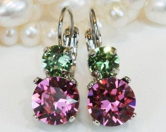 Pink Green Earrings Bridesmaids Pink Green Earrings Bridal Dangle Swarovski Crystal Wedding Jewelry Rose Pink Peridot Green ,Silver,Rose,SE3