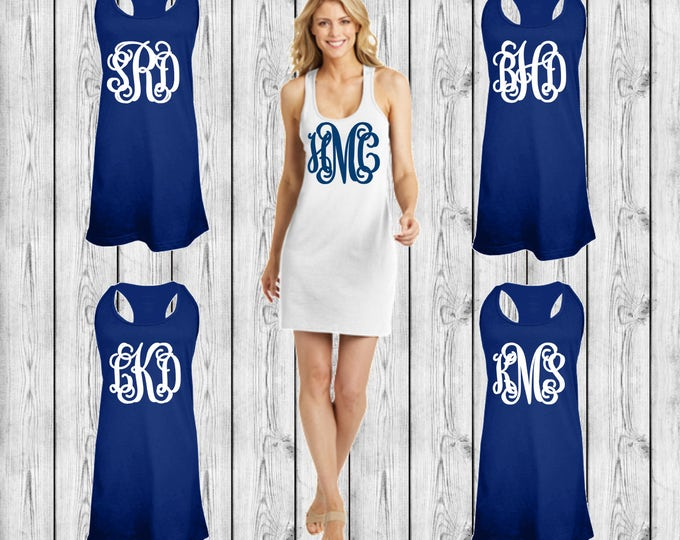 Monogrammed Swimsuit Cover up, Tank Dress, Swimsuit Coverup, Monogrammed Bridesmaid Gift, Bachelorette, Beach, Cruise, Group Order Discounts
