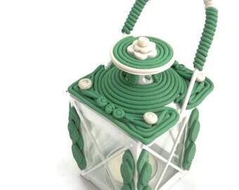 Fairy Lantern Unique Clay Embellished for Centerpiece, Shower, Wedding