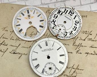 Vintage Porcelain POCKET Watch Faces (3) for Steampunk and Altered Art Numbers Watch Dials- D20