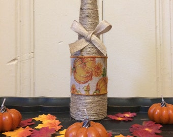 Fall bottle, fall twine bottle, fall, fall decor