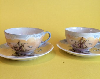2 vintage porcelain tea cups and saucers made in japan