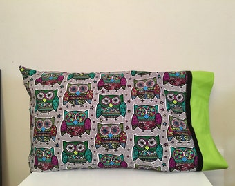 Owls stained glass pillowcase
