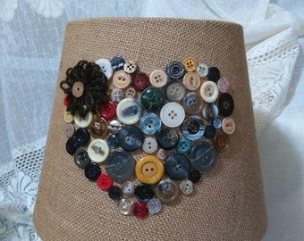 Country burlap lamp shade, vintage button shade, Heart shade,