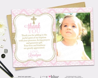 Pink & Gold Baptism Thank You Card - Girl Pink Baptism Thank You Card - Damask Baptism Thank you note - First Communion - Christening