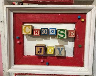 Wall hanging, Choose Joy! Alphabet blocks framed, red and white vintage frame, vintage childrens' alphabet blocks