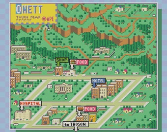 Earthbound/Mother 2 Onett Town Map Cross Stitch Pattern