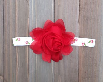 Red Rose Headband Flower Girl Flowergirl Bridal Baby girl headband Bridesmaid Headband Shower Gift Baby Accessories Photo Props