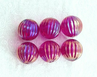 18mm Vintage Beads Raspberry Pink Acrylic Beads Large Fluted Beads Pink Round Beads