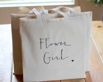 Gift Bag for Flower Girl Tote Bag Handwritten Bridal Party
