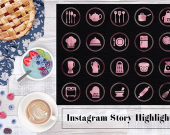 Rose Gold Instagram Story Icons, Kitchen Utensils Instagram Icons, Rose Instagram Kitchen Icon, Instagram Stories, Cooking Icons, BUY3FOR6