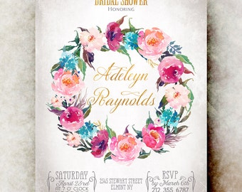 Watercolor bridal shower Invitation printable - pink bridal shower invitation, floral bridal shower invitation, bridal shower invites