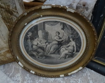 GORGEOUS Vintage Shabby Victorian 3 Ladies Framed Engraving AS-IS
