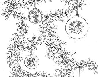 Printable Coloring Page - Christmas Vines