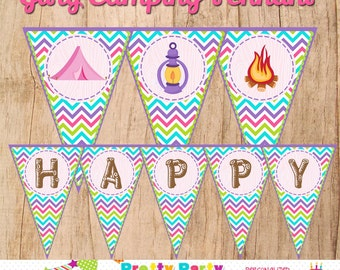GIRLY CAMPING birthday banner - you print  - INSTANT Download