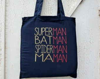 "Bag totebag ""Superman etc"" MOM for mother's day! / super mum / thanks MOM / bag cotton MOM / mum's day / mommy / mom's day"