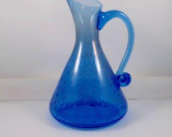 Handblown Blue Glass Pitcher,blue glass,bubble glass,vintage,pitcher,handle,murano glass,art glass,pitcher vase,bubble glass pitcher,blue